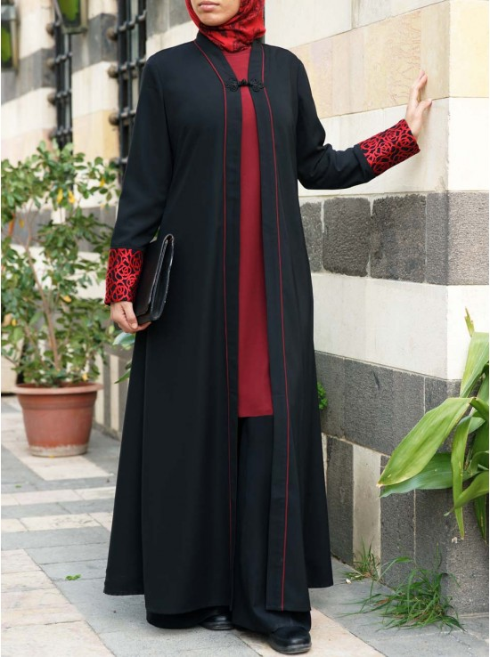Red Adorned Abaya
