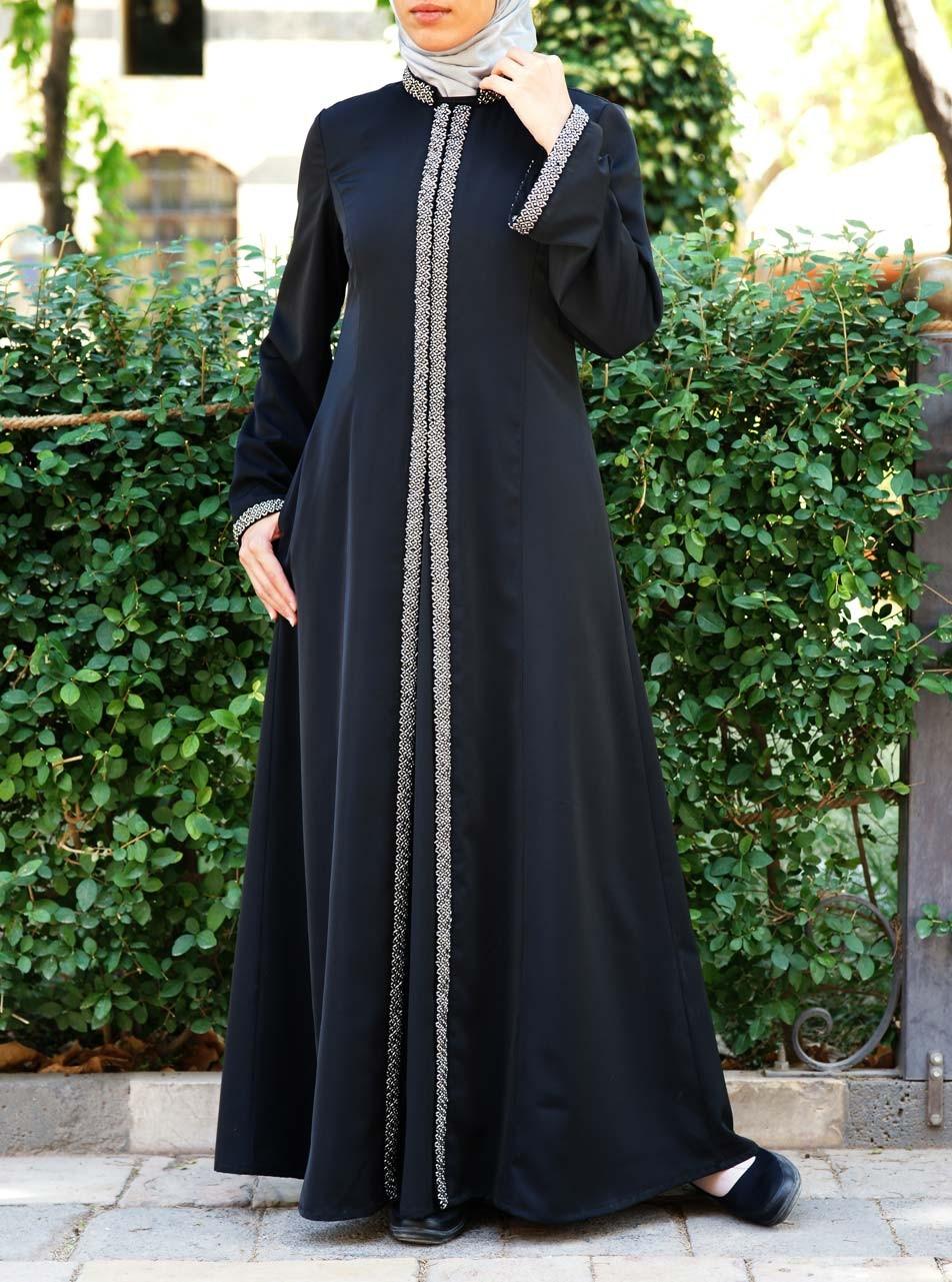 Silver Beadwork Abaya Gown