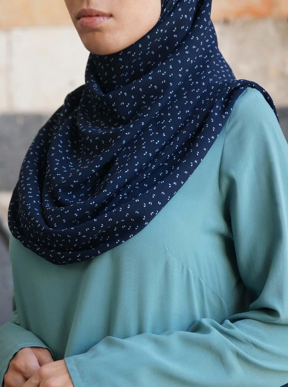 Ditsy Navy Crepe Hijab
