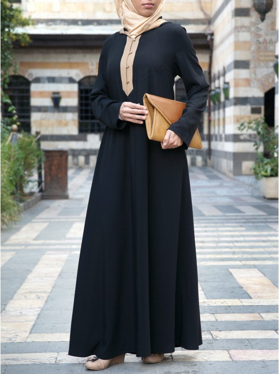Contrast Hooded Abaya