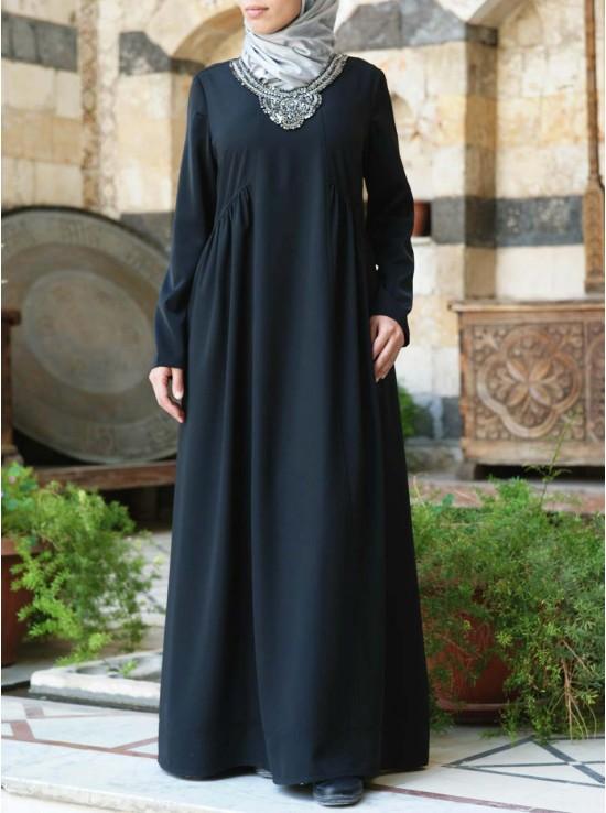 Beaded Necklace Abaya