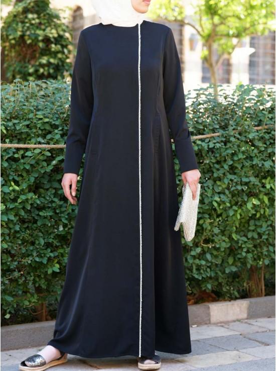 Paearl Chain Trim Minimalist Abaya