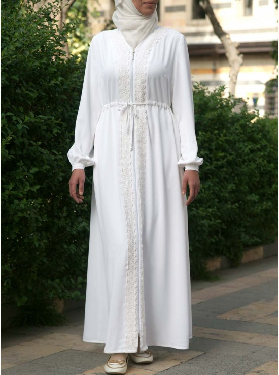 Lace Abaya with Waist Tie