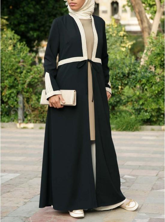Lace Trim Open Abaya