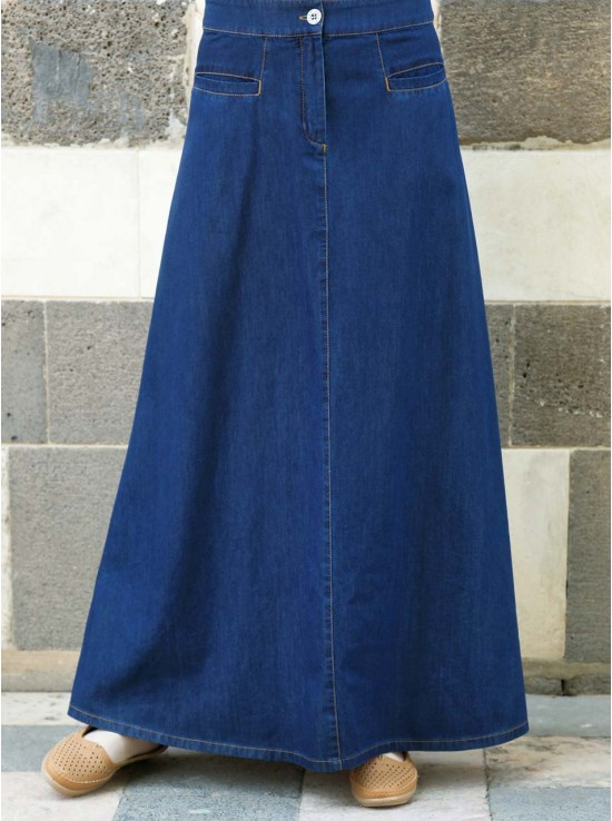 Denim Flattering Fit Maxi Skirt