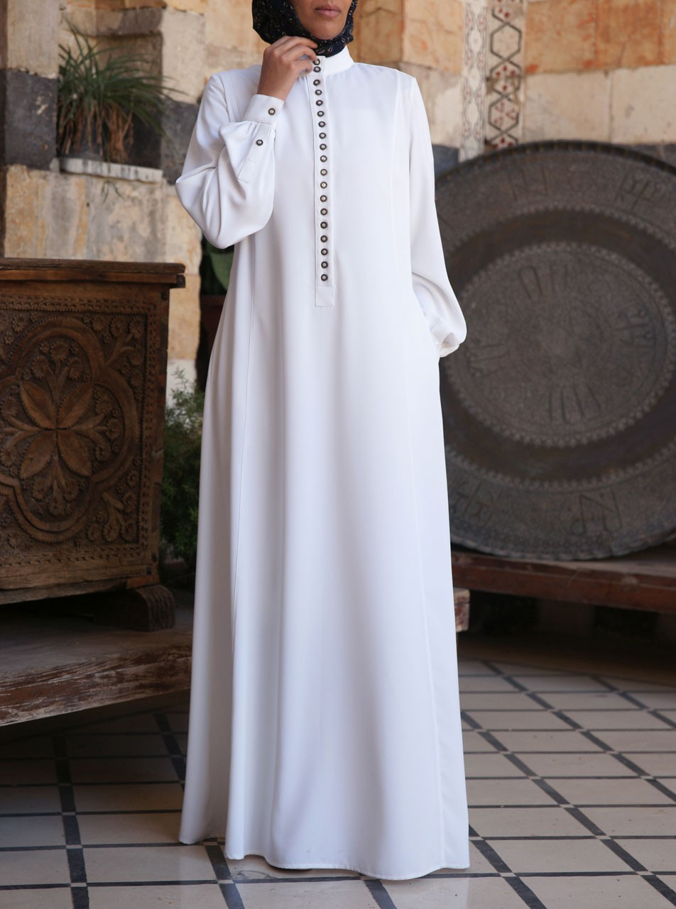 Pearl Buttoned Abaya Gown