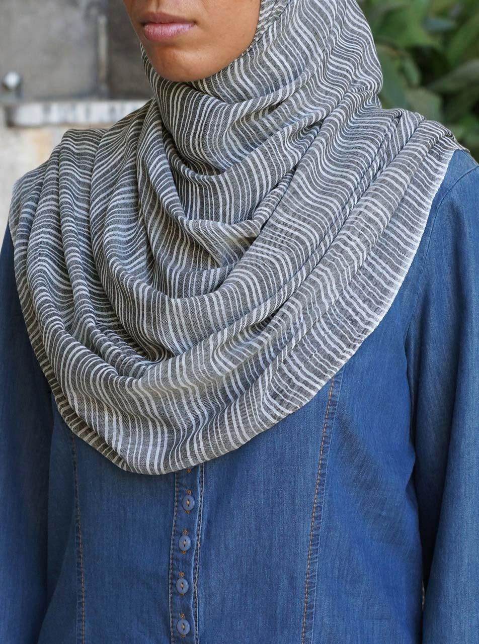 Modal Blend Striped Hijab