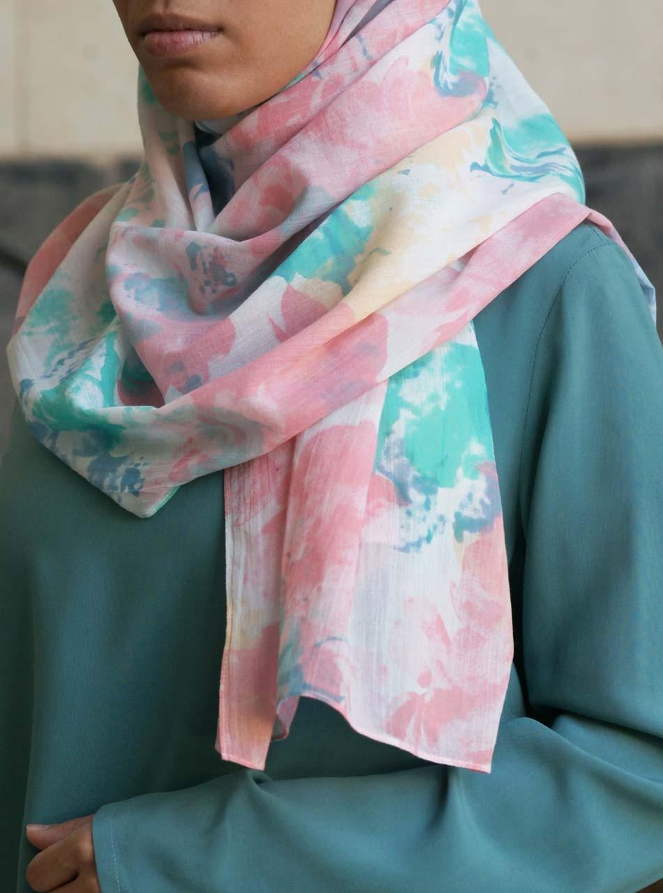 Pastel Watercolor Cotton Hijab