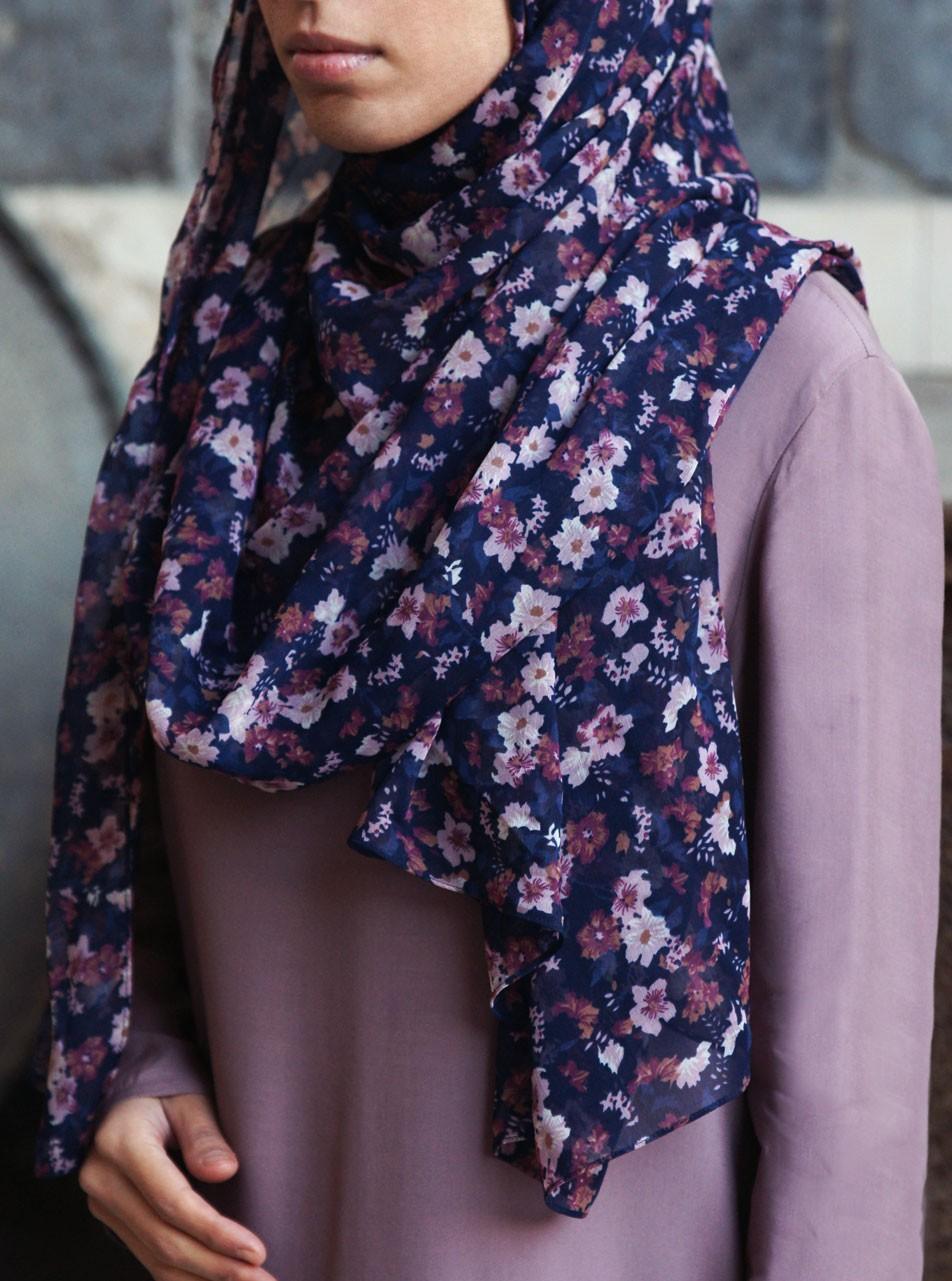 Evening Flowers Chiffon Hijab