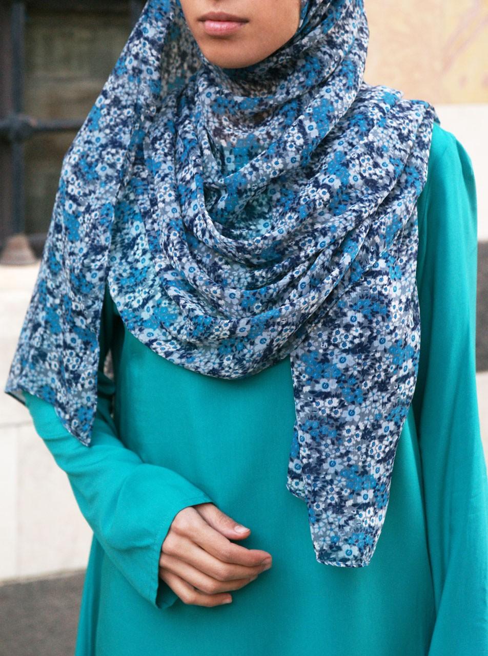 Turquoise Accent Chiffon Hijab