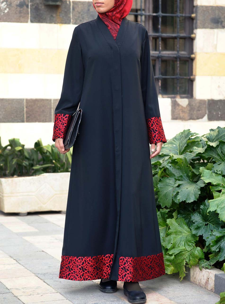 Red Lace Embroidery Abaya