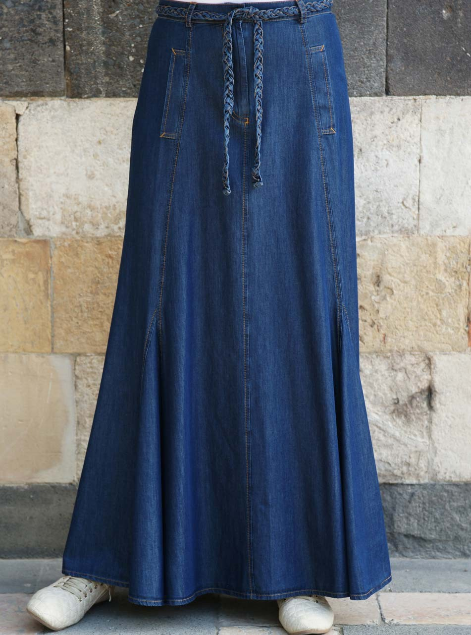 Braided Belt Denim Maxi Skirt