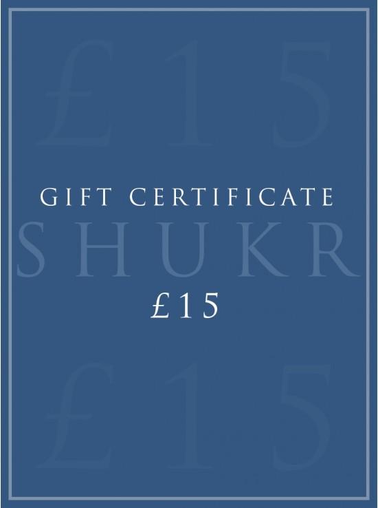 SHUKR £15 E-Gift Certificate