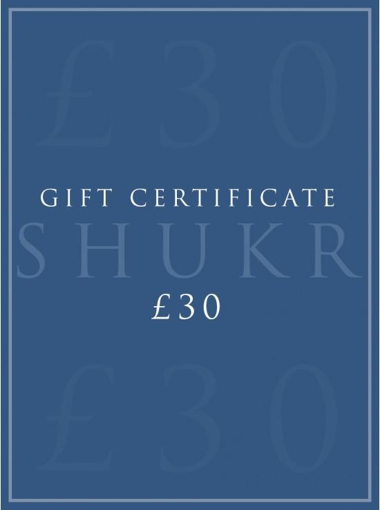SHUKR £30 E-Gift Certificate