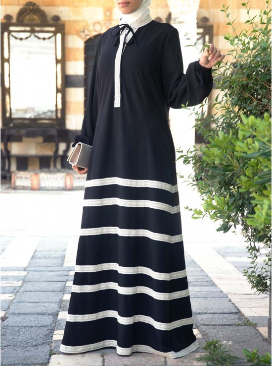 White Lace Abaya Gown