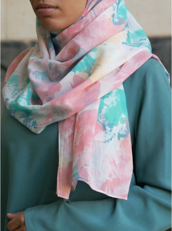 Pastel Watercolor Cotton Hijab