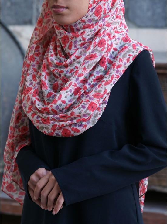 Red Tulips Chiffon Hijab