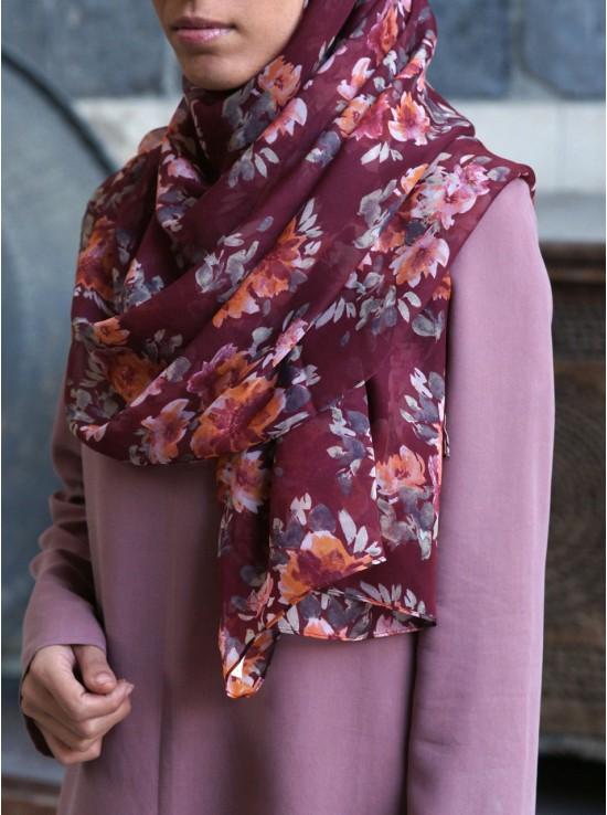 Maroon Flowers Soft Chiffon Hijab