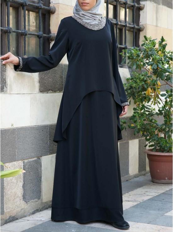 Beadwork Layered Abaya