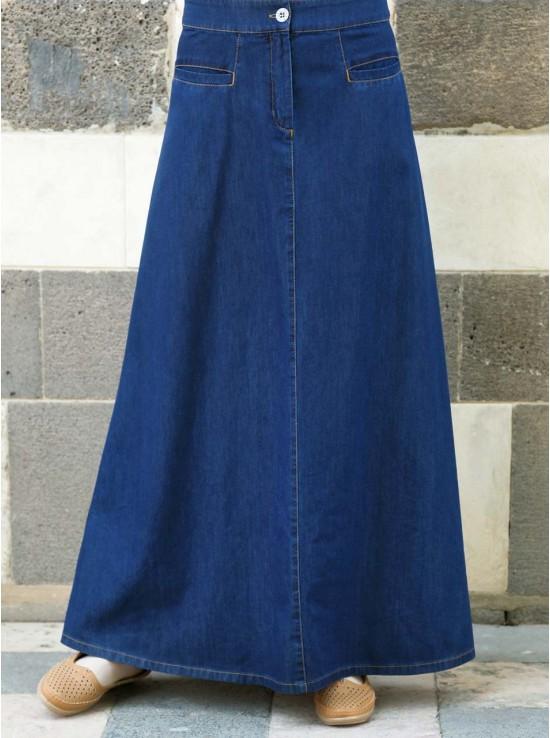 Denim Flattering Fit Maxi Skirt