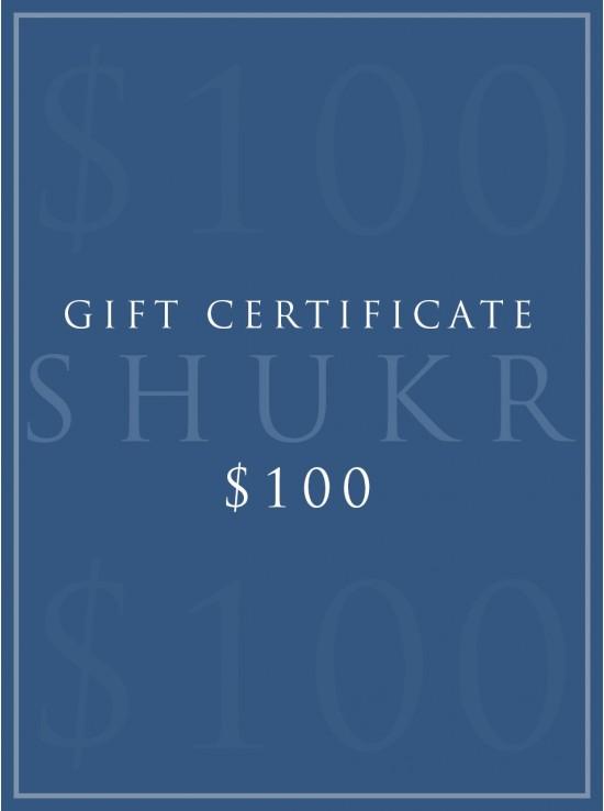 SHUKR $100 E-Gift Certificate