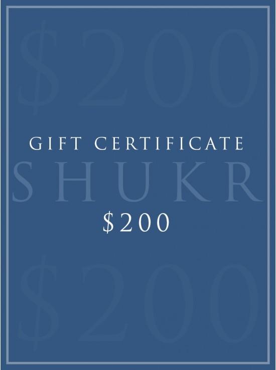 SHUKR $200 E-Gift Certificate