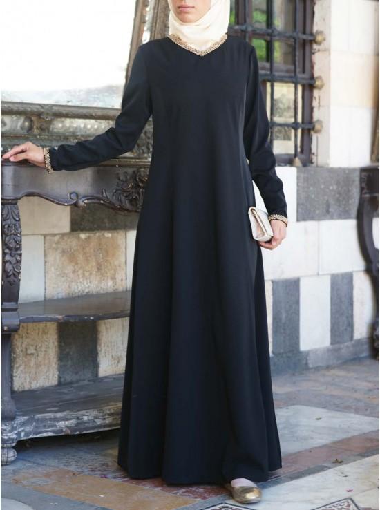 Minimalist Gold Trim Abaya Gown