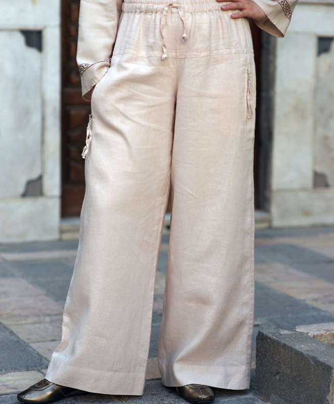 Flared Drawstring Trousers